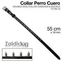 CÃO COLEIRA COURO TC786.18 55cm x 18mm PRETO