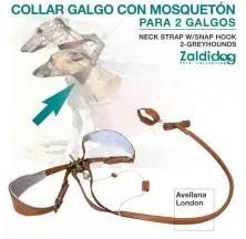 PERRO COLLAR GALGO CON MOSQUETÓN PARA 2 GALGOS