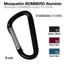 MOSQUETÓN BOMBERO ALUMINIO TH-7015A-8 NEGRO 6uds