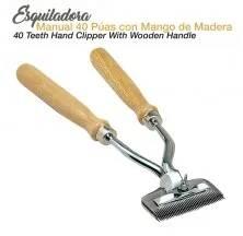 ESQUILADORA MANUAL 40 PÚAS MANGO MADERA