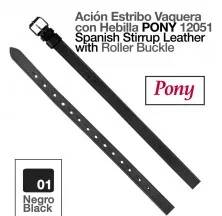 SPANISH STIRRUP LEATHER PONY 12051 BLACK