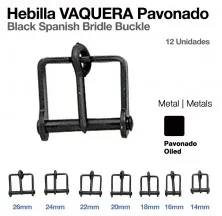 BLACK SPANISH BRIDLE BUCKLE 14MM (12UNITS)