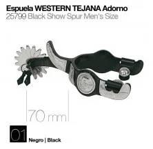 ESPUELA WESTERN TEJANA ADORNO NEGRO 25799
