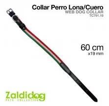 WEB DOG COLLAR 3 CLR TC791.19 W/BLACK LEATHER