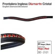 FRONTALERA INGLESA DIAMANTE CRISTAL ROJO NEGRO