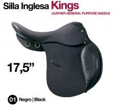 "LEATHER GENERAL PURPOSE KING SADDLE 17.5"" BLACK"
