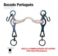 BOCADO PORTUGUÉS EMBOCADURA ACERO PIERNA NEGRA 12.5cm