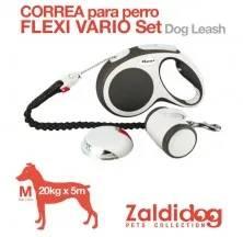 DOG LEASH FLEXI VARIO SET 20kg. 5m. M GREY