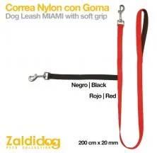 PERRO CORREA NYLON CON GOMA 1m x 20mm