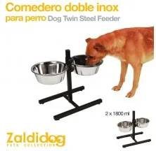 DOG TWIN STAIN STEEL FEEDER 2 x 1800ml
